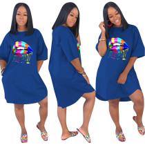 Lip Print Blue Loose Casual Dress