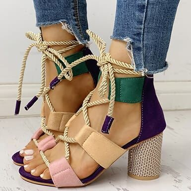 Colorful Chunky Sandal with Strings