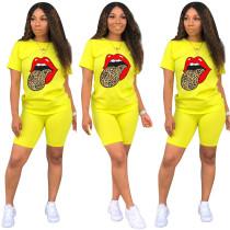 Contrast Tongue Print Yellow Tee & Shorts