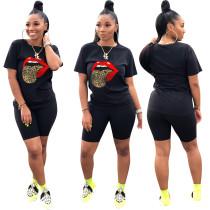 Big Tongue Print Black Tee & Shorts