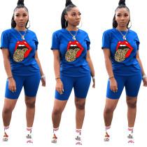 Big Tongue Print Blue Tee & Shorts