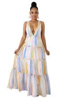 Deep-V Cirss Cross Open Back Big Hem Maxi Dress