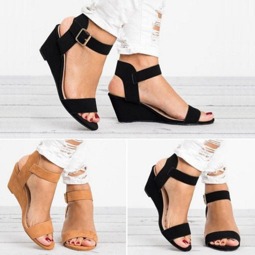 Faux Suede Wedge with Buckle Strap