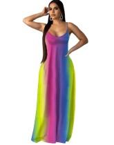 Sexy Colorful Cami Maxi Dress