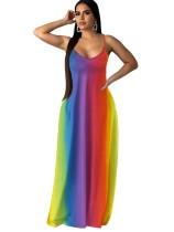 Sexy Graddient Straps Maxi Dress