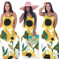 Sunflower Print White Cami Maxi Dress