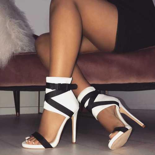 Women's Back Zipper High Heel Sandal