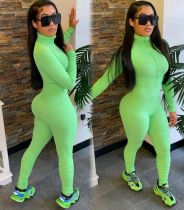 Green Ribbed High Neck Ruched Detail Bodycon Jumpsuit