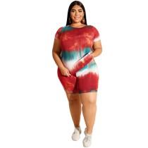 Plus Size Tie Dye Red Two Piece Shorts Set
