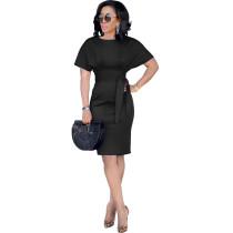 Black Short Sleeve Waist Tie Office Dress