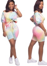 Tie Dye Pink Knot One Shoulder Top & Shorts