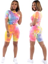 Colorful Tie Dye O-neck Top & Shorts