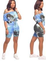 Blue Tie Dye Knot Front Top & Shorts Set
