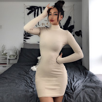 High Neck Apricot Ribbed Bodycon Dress with Sleeve