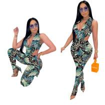 Print Green Mesh Sexy Bodysuit & Leggings