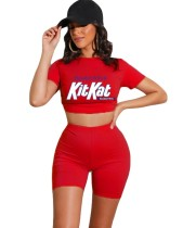 Red Letter Print Crop Top and Shorts