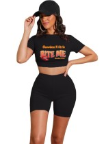 Black Letter and Lip Print Crop Top and Shorts