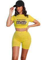 Yellow Letter Print  Crop Top and Shorts