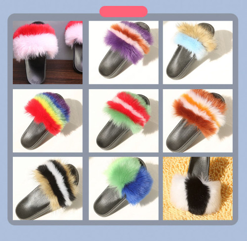Colorful Fake Fur Home Slipper