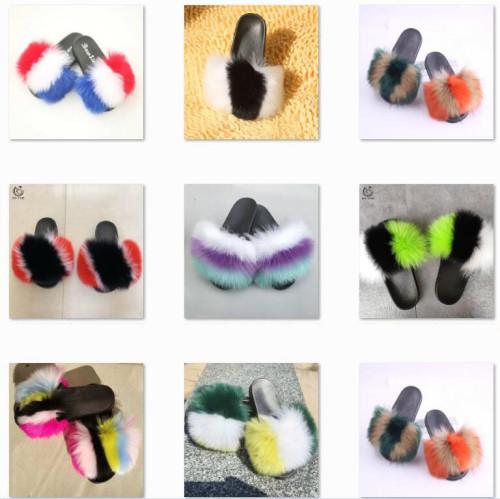 Colorful Fake Fur Fashion Slipper
