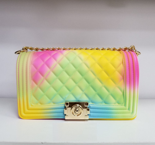 Hot Sale Chain Candy Color Jelly Bag Women Handbag