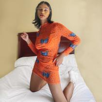 Orange Butterfly Mesh Bodycon Dress
