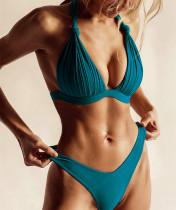 Lake Blue Knot Ruched Moulded Cup High Cut Bikini Set