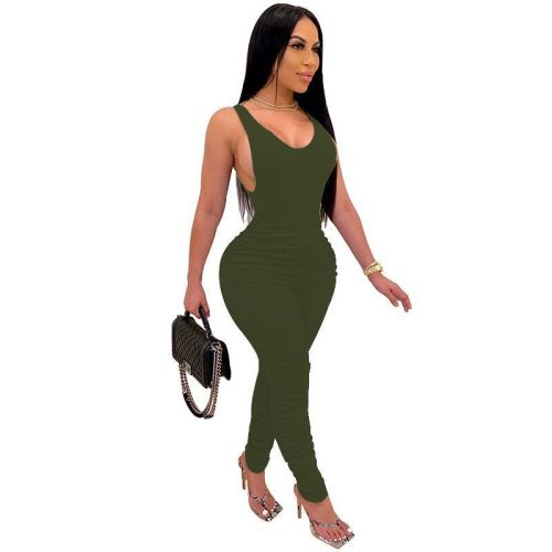 Plus XS-5XL Green Sleeveless Ruched Bodycon Jumpsuit