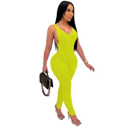 Plus XS-5XL Yellow Sleeveless Ruched Bodycon Jumpsuit