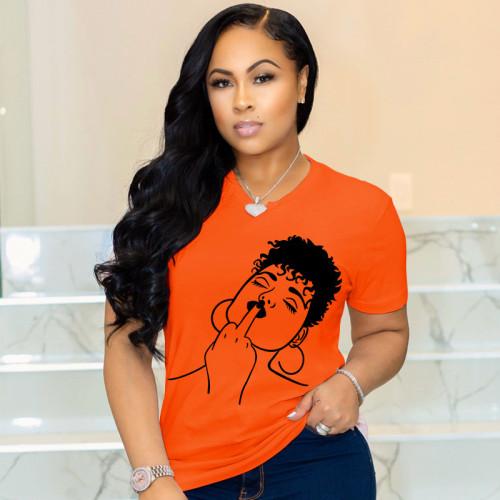 Plus Size Cotton Print Orange V Neck T Shirt