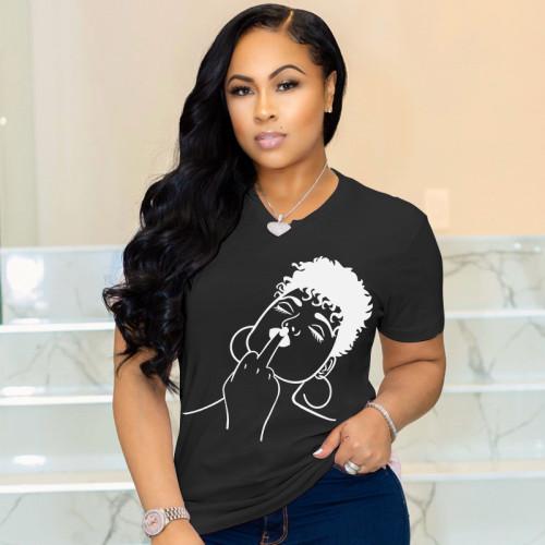 Plus Size Cotton Print Black Simple T Shirt