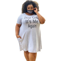 Plus Size Print Gray Casual Tee Dress with Pockets