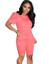 Red Puff Sleevses Casual Top & Pocket Shorts