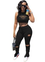 Black Ripped Sleeveless Ruched  Two Piece Pants Set