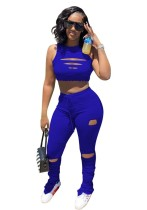 Blue Ripped Sleeveless Crop Top & Ruched Pants