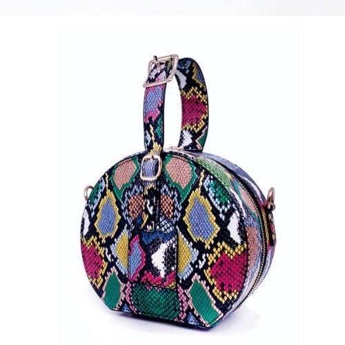 Fashion Round Snakeskin Print Handbag for Women