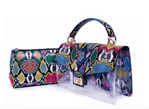 Stylish Colorful Snakeskin Print Two Piece Handbag for Women