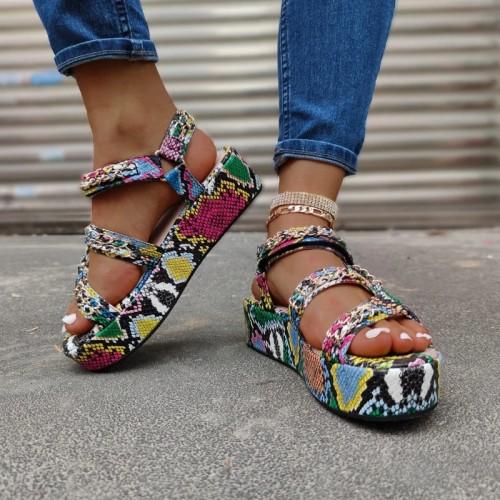 Fashion Print Chain Braided Platform Sandal for Women
