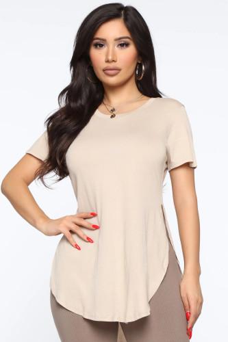 Plus Size Khaki Slit T Shirt