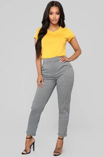 Plus Size Yellow Slit T Shirt
