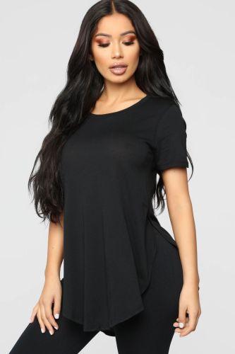 Plus Size Black Slit T Shirt
