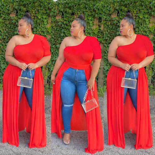 Plus Size Red One Shoulder Front Slit Dress Top