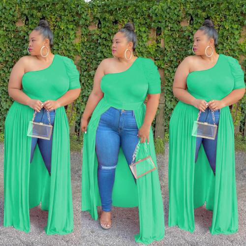 Plus Size Green One Shoulder Front Slit Dress Top