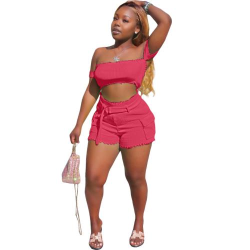 Sexy Hot Pink Off Shoulder Top & Shorts Set XS-XL