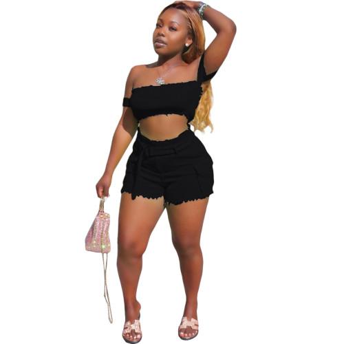 Sexy Black Off Shoulder Top & Shorts Set XS-XL