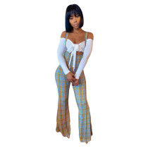 White Off Shoulder Top & Flare Plaid Suspender Pants Two Piece Set