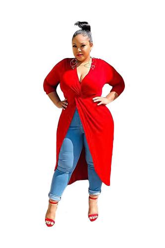 Plus Size Red Deep-V Irregular Dress Top