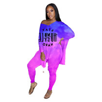 Plus Size Tie Dye Purple Letter Slit Top & Tight Pants