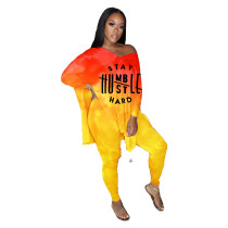 Plus Size Tie Dye Yellow Letter Slit Top & Tight Pants