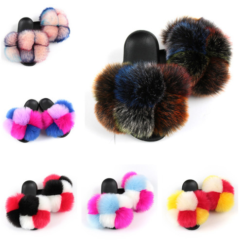 Colorful Fake Fur Stylish Slides